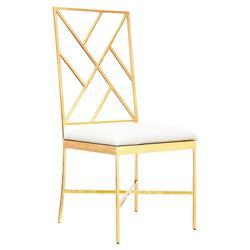 Adrion Gold Leaf Fretwork White Side Chair