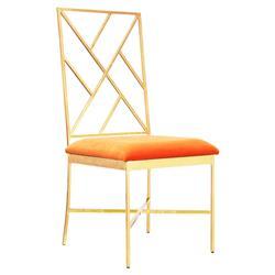 Adrion Gold Leaf Fretwork Orange Velvet Side Chair