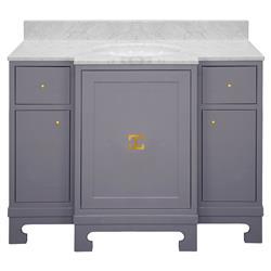 Avett White Marble Grey Lacquer Gold Vanity Sink