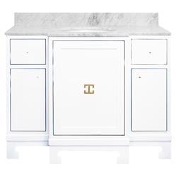 Avett Marble White Lacquer Gold Vanity Sink