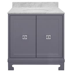 Gwynett Grey Lacquer White Marble Nickel Vanity Sink