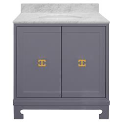 Gwynett Grey Lacquer White Marble Gold Vanity Sink