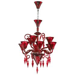 Andretti Red Glass Murano Style Chandelier | Kathy Kuo Home