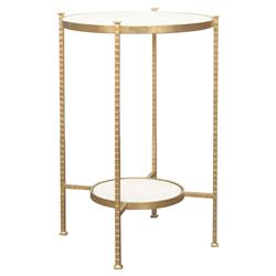 Tavis Hammered Gold Round Marble End Table