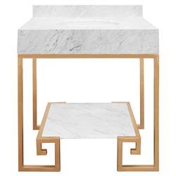 Corus Regency Greek Key White Marble Vanity Sink - Gold