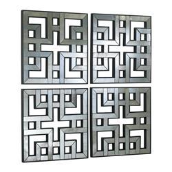 Set of 4 Akari Contemporary Lattice Mirrored Wall Panels