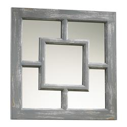 Ashbury Coastal Beach Style Grey Wash Square Wall Mirror