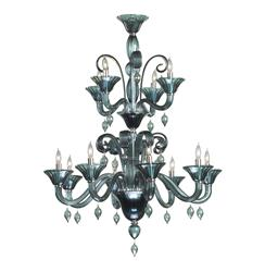 Treviso Blue Grey 12 Light Murano Glass Style Chandelier