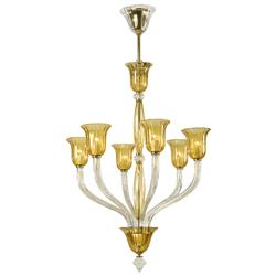 Vetrai Amber and Clear 6 Light Murano Glass Style Chandelier