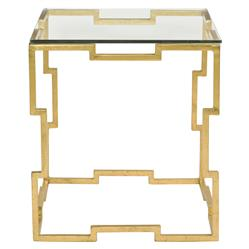 Kya Hollywood Regency Gold Leaf Glass End Table