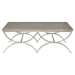 Michelle Grey Wood Curved Nickel Coffee Table