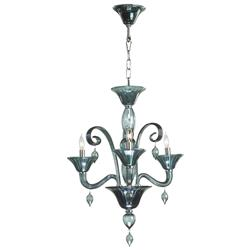 Treviso 3 Light Dark Blue Smoke Murano Glass Style Chandelier | CYAN-6495-3-14
