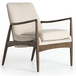 Olena Mid Century Beige Cedar Lounge Arm Chair