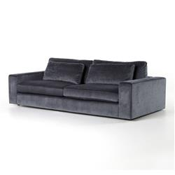 Ava Modern Classic Black Upholstered Cushion Back Sofa - 98 Inch