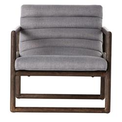 Camila Modern Classic Grey Upholstered Brown Wood Occasional Arm Chair