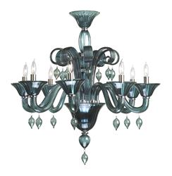 Treviso 8 Light Dark Blue Smoke Murano Glass Style Chandelier
