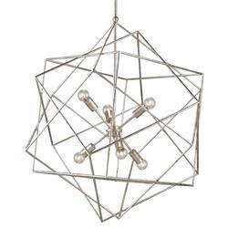 Dade Geometric Modern Silver Cubes Chandelier