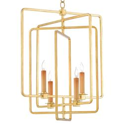 Rittenhouse Modern Gold Leaf Squares Chandelier