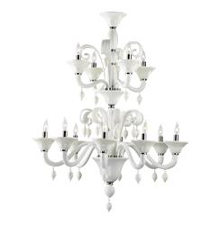 Treviso 12 Light Opaque White 2 Tier Murano Glass Style Chandelier