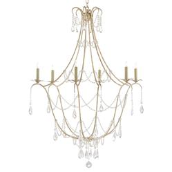 Zelma French Modern Crystal Drop Silver Leaf Chandelier