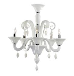 Treviso 5 Light Opaque White Murano Glass Style Chandelier
