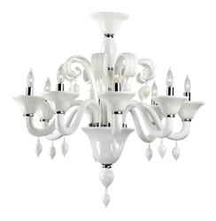Treviso 8 Light Opaque White Murano Glass Style Chandelier