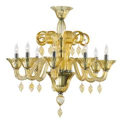 Treviso Amber 8 Light Murano Glass Chandelier | CYAN-6493-8-14