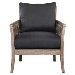 Decima Coastal Beach Rubbed Cane Grey Rattan Occasional Arm Chair