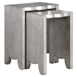 Dali Regency Rustic Silver Scallop Nesting Tables - Pair