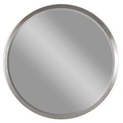 Braden Modern Classic Round Ridge Silver Leaf Wall Mirror - 42D