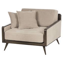 Marcena Modern Mid Century Beige Dark Wood Armchair