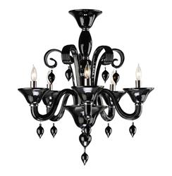 Treviso Contemporary Black 5 Light Murano Glass Chandelier