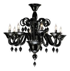 Treviso Contemporary Black 8 Light Murano Glass Chandelier | CYAN-6494-8-14
