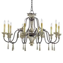 Provence French Country White and Grey Wash 10 Light Chandelier | CYAN-6513-10-43
