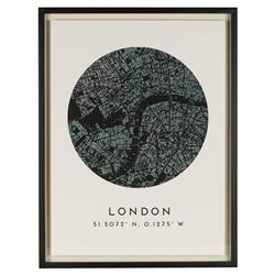 London by Map Antique Black Coordinate Giclee Print