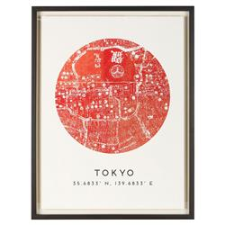 Tokyo by Map Vintage Red Coordinate Giclee Print