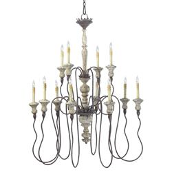 Provence French Country White and Grey Wash 12 Light Chandelier | CYAN-6513-12-43