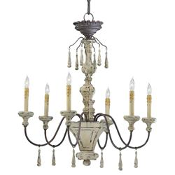 Provence French Country White and Grey Wash 6 Light Chandelier | CYAN-6513-6-43