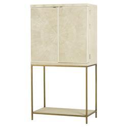 Maison 55 Melissa Regency Cream Shagreen Brass Bar Cabinet