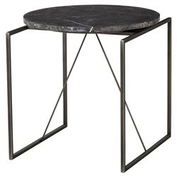 Thomas Bina Georgina Industrial Lodge Black Marble Metal End Table