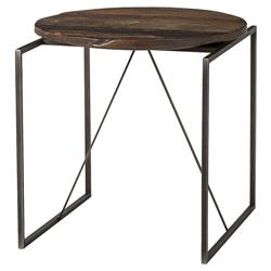 Thomas Bina Georgina Industrial Lodge Peroba Wood Metal End Table