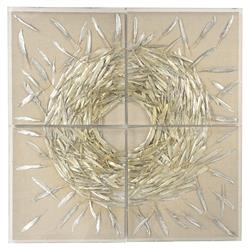 Anna Modern Classic Metallic Feather Linen Velvet Abstract Wall Art