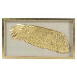 Blyth Regency Gold Wing Linen Shadow Box - Left