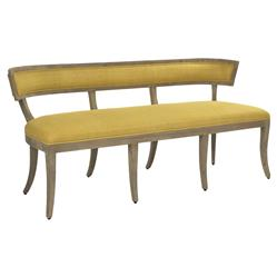 Ivette Rustic French Curved Saffron Yellow Bench