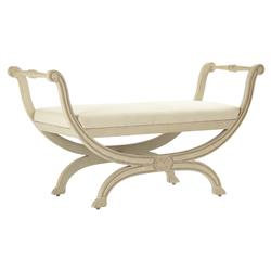 Matilda French Country Curved Side Antique Ivory Bench