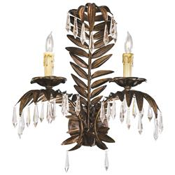 Antique Brass Palm Frond Crystal Two Light Wall Sconce