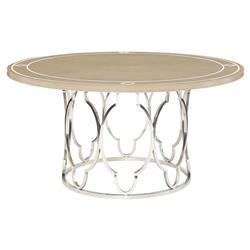 Diana Nickel Ivory Inlay Round Wood Dining Table
