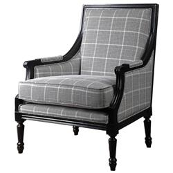 Josiah Plaid Black Modern Classic Armchair