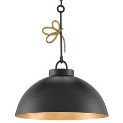 Dominic Loft Satin Black Gold Ribbon Pendant