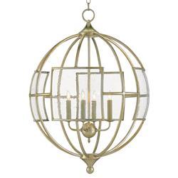 Gwyneth Seeded Glass Window Modern Silver Orb Pendant
